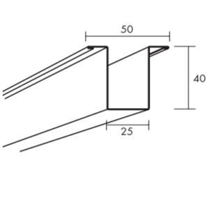 Ecophon Connect Hutprofil Montagezubehör (2700x50x40)