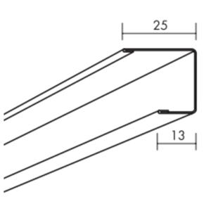 Ecophon Connect U-Abschlussprofil H=44 Montagezubehör (3000x25x44)